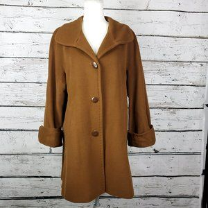 Talbots Camel Brown Overcoat Size 14